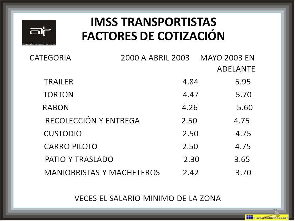 IMSS TRANSPORTISTAS FACTORES DE COTIZACIÓN