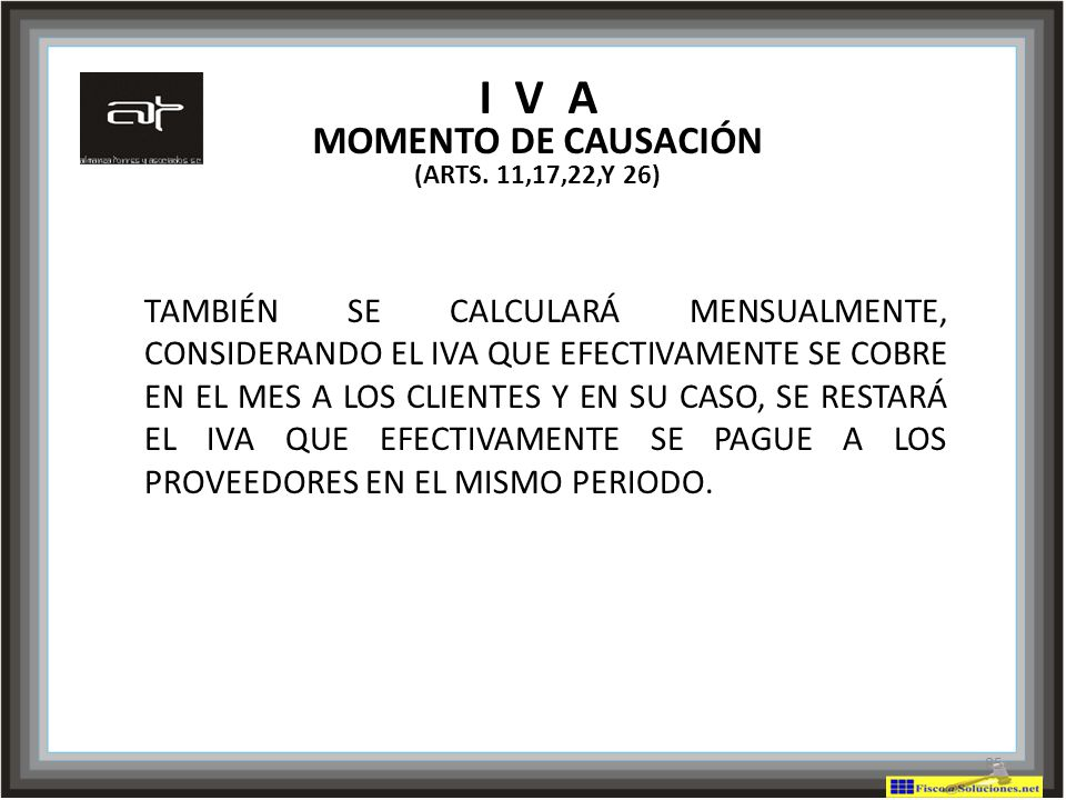 I V A MOMENTO DE CAUSACIÓN