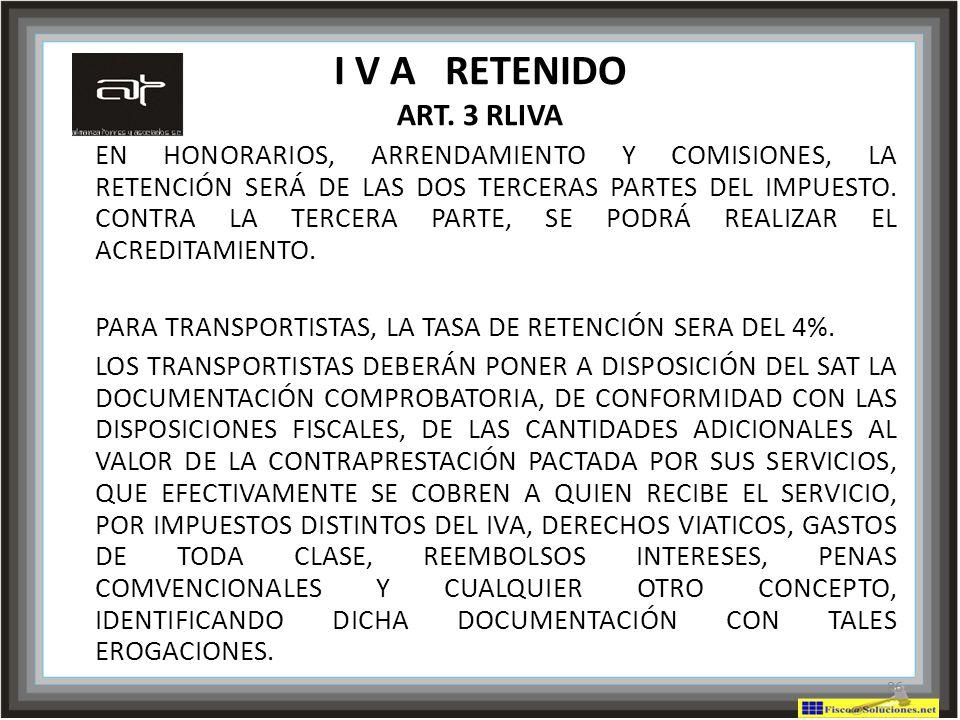 I V A RETENIDO ART. 3 RLIVA