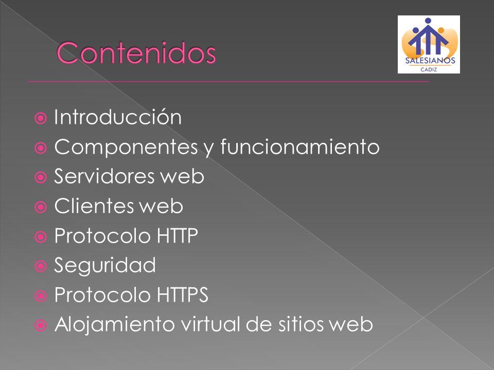 Contenidos Introducción Componentes y funcionamiento Servidores web