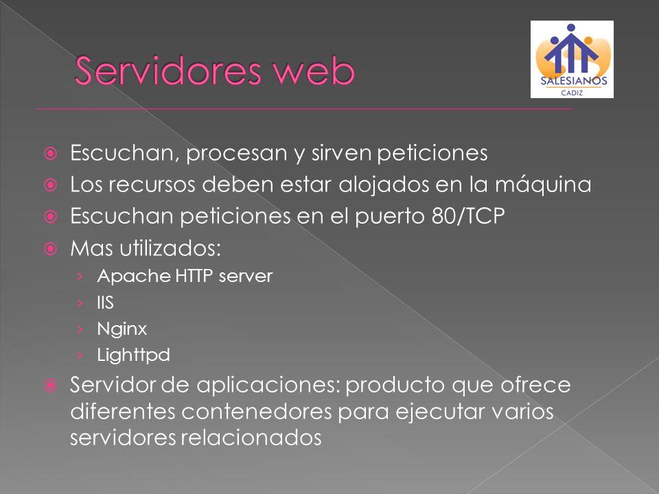 Servidores web Escuchan, procesan y sirven peticiones