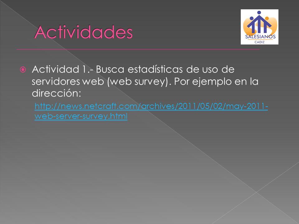 Actividades Actividad 1.- Busca estadísticas de uso de servidores web (web survey). Por ejemplo en la dirección: