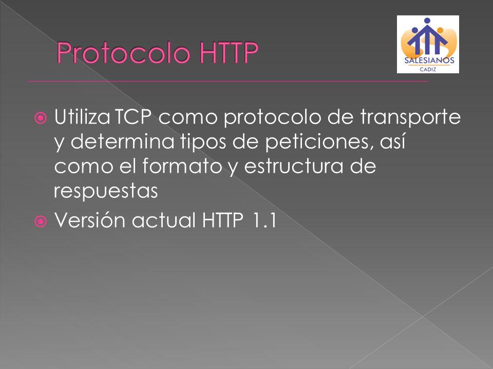 Protocolo HTTPUtiliza TCP como protocolo de transporte y determina tipos de peticiones, así como el formato y estructura de respuestas.