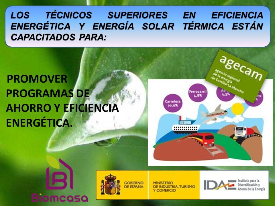 promover programas de ahorro y eficiencia energética.