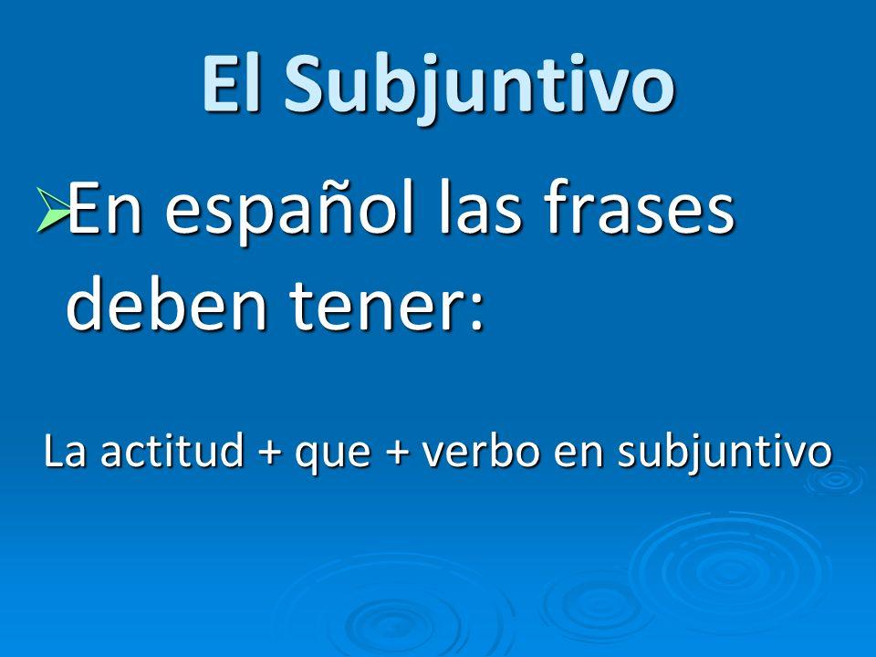 La actitud + que + verbo en subjuntivo