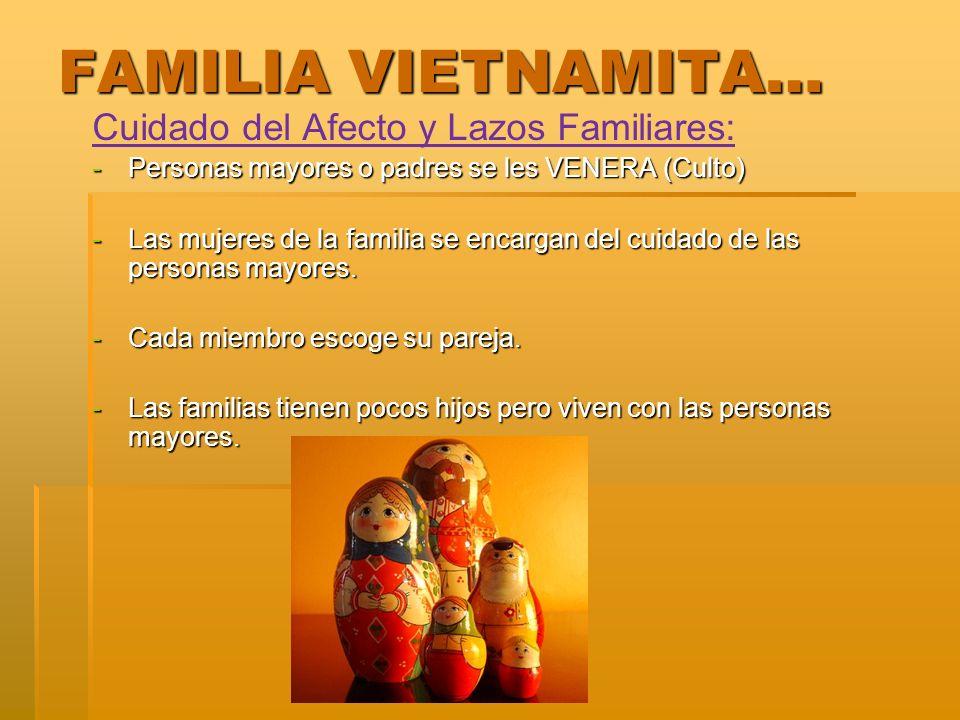 FAMILIA VIETNAMITA… Cuidado del Afecto y Lazos Familiares: