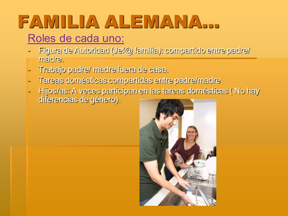 FAMILIA ALEMANA… Roles de cada uno: