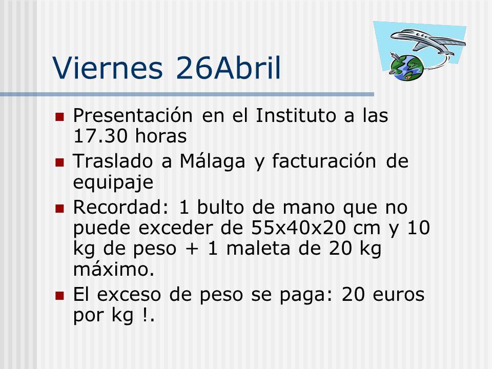 Viernes 26Abril Presentación en el Instituto a las 17.30 horas