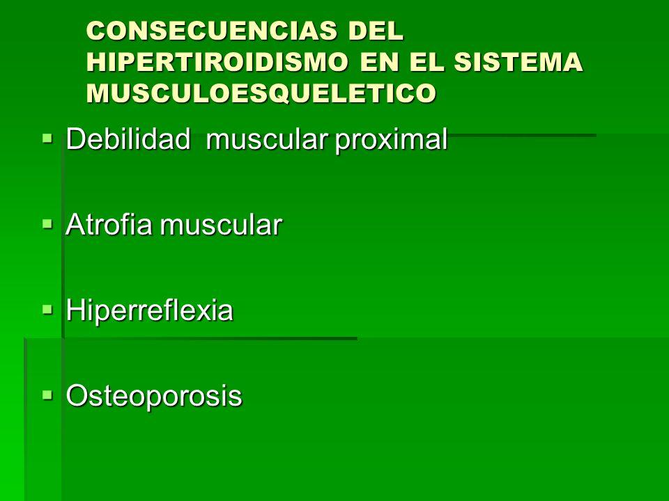 Debilidad muscular proximal Atrofia muscular Hiperreflexia