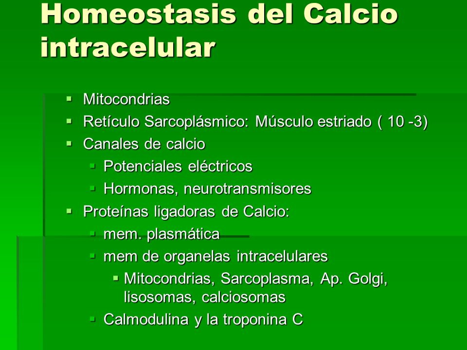 Homeostasis del Calcio intracelular