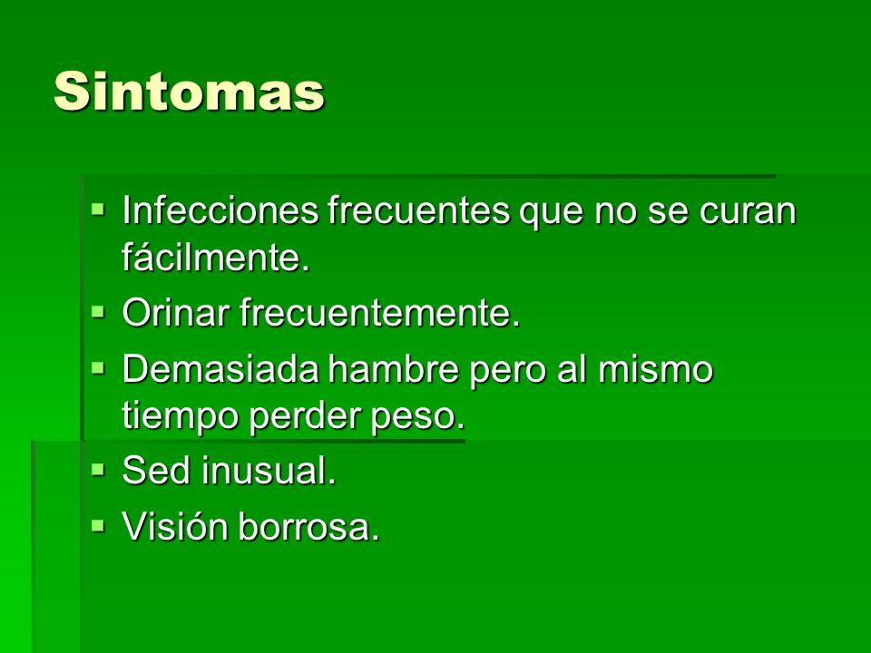 Sintomas Infecciones frecuentes que no se curan fácilmente.
