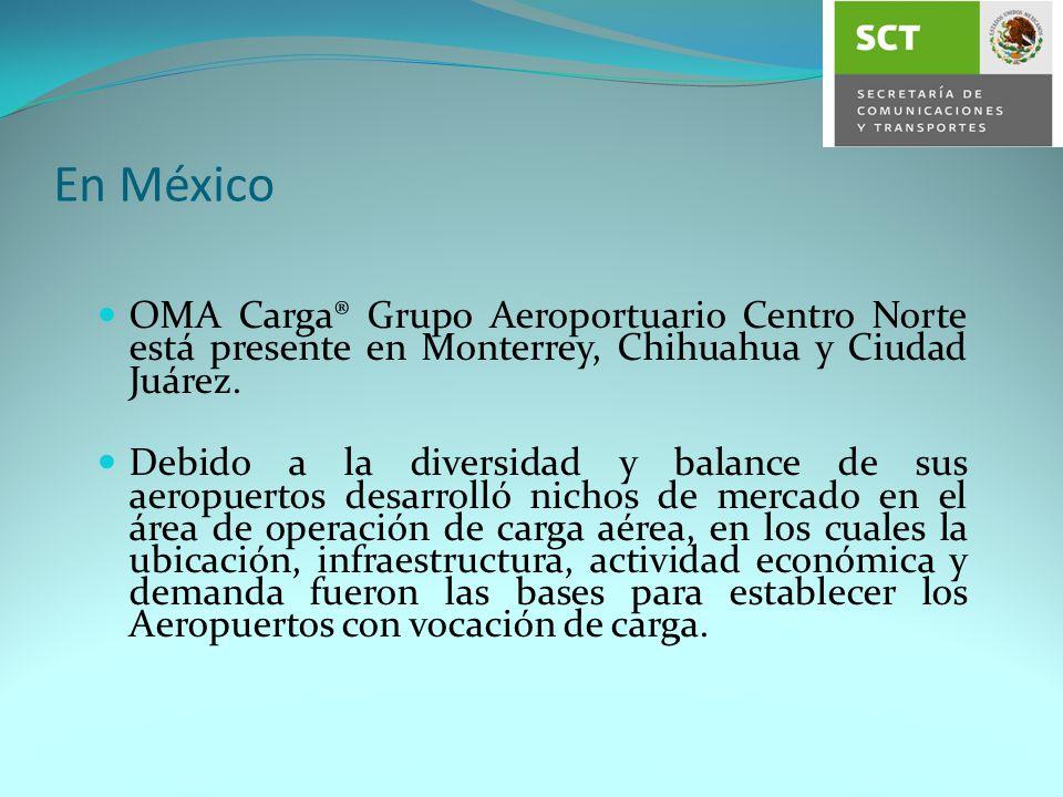 En México OMA Carga® Grupo Aeroportuario Centro Norte está presente en Monterrey, Chihuahua y Ciudad Juárez.