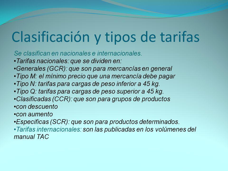 Clasificación y tipos de tarifas