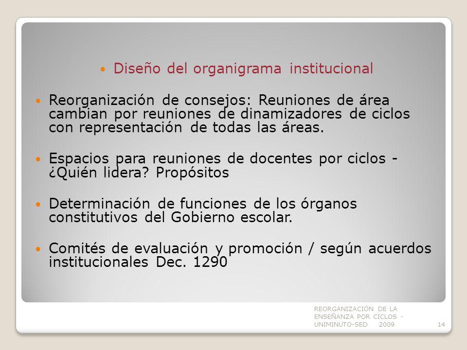 Diseño del organigrama institucional
