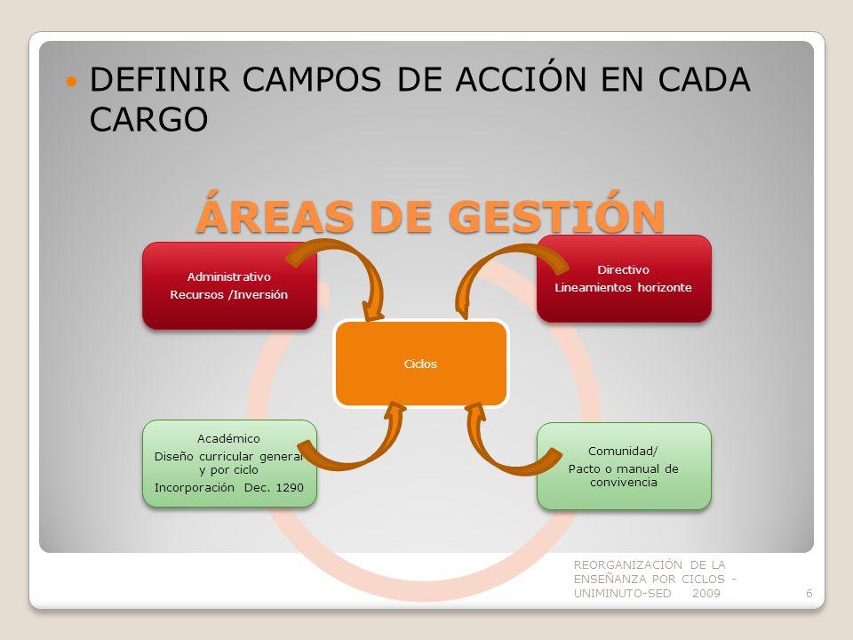 ÁREAS DE GESTIÓN DEFINIR CAMPOS DE ACCIÓN EN CADA CARGO Directivo