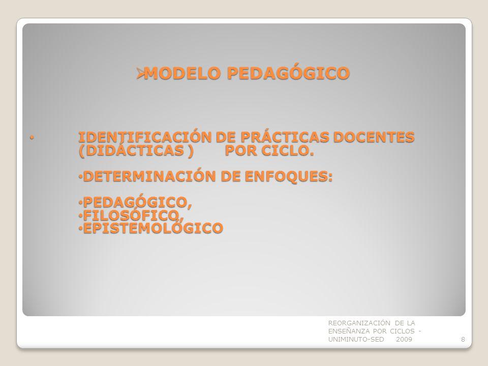 MODELO PEDAGÓGICO IDENTIFICACIÓN DE PRÁCTICAS DOCENTES (DIDÁCTICAS ) POR CICLO. DETERMINACIÓN DE ENFOQUES: