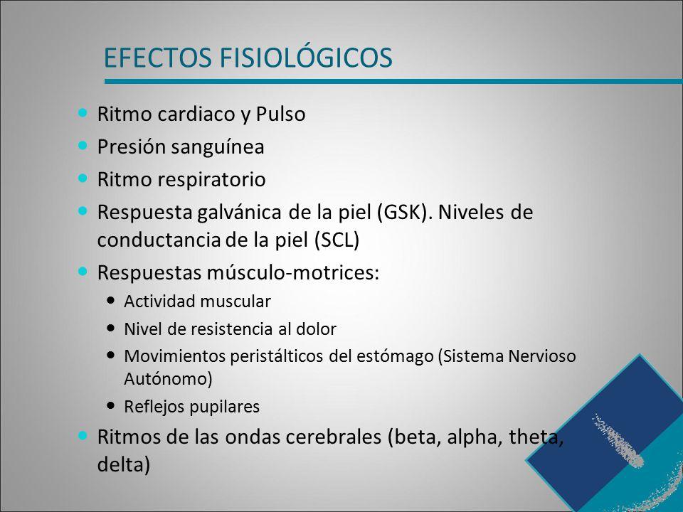 EFECTOS FISIOLÓGICOS Ritmo cardiaco y Pulso Presión sanguínea