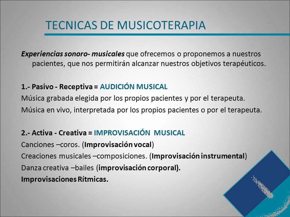 TECNICAS DE MUSICOTERAPIA