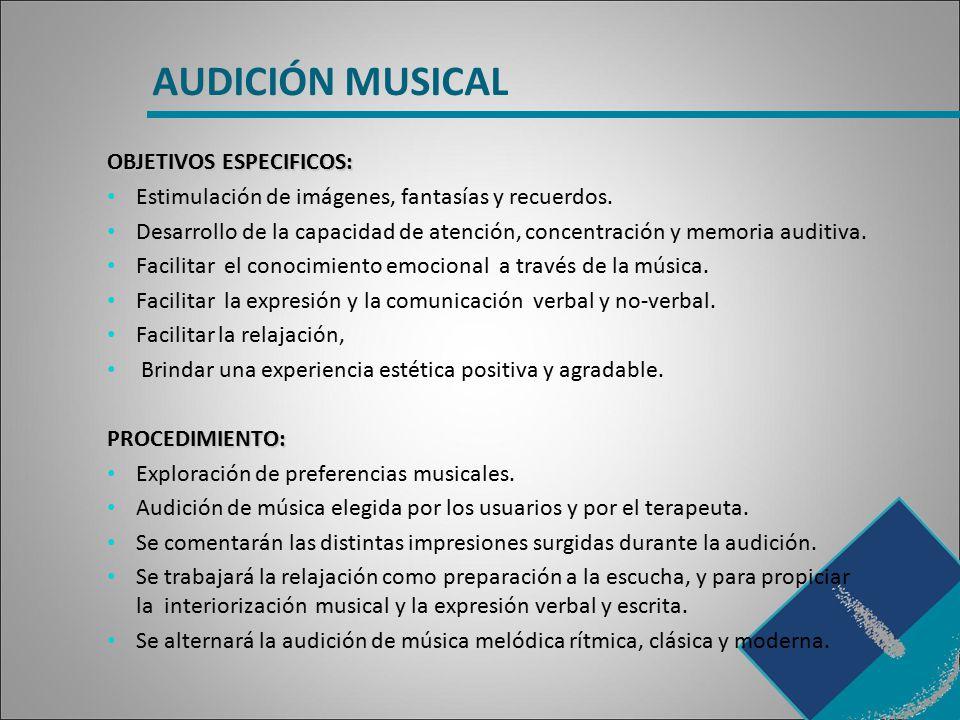 AUDICIÓN MUSICAL OBJETIVOS ESPECIFICOS: