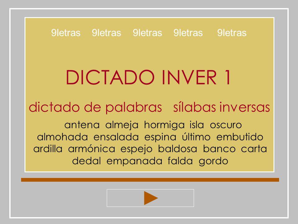 DICTADO INVER 1 dictado de palabras sílabas inversas