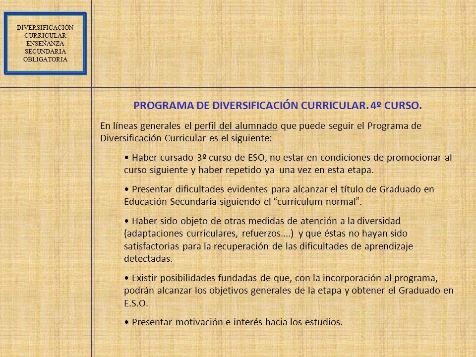 PROGRAMA DE DIVERSIFICACIÓN CURRICULAR. 4º CURSO.