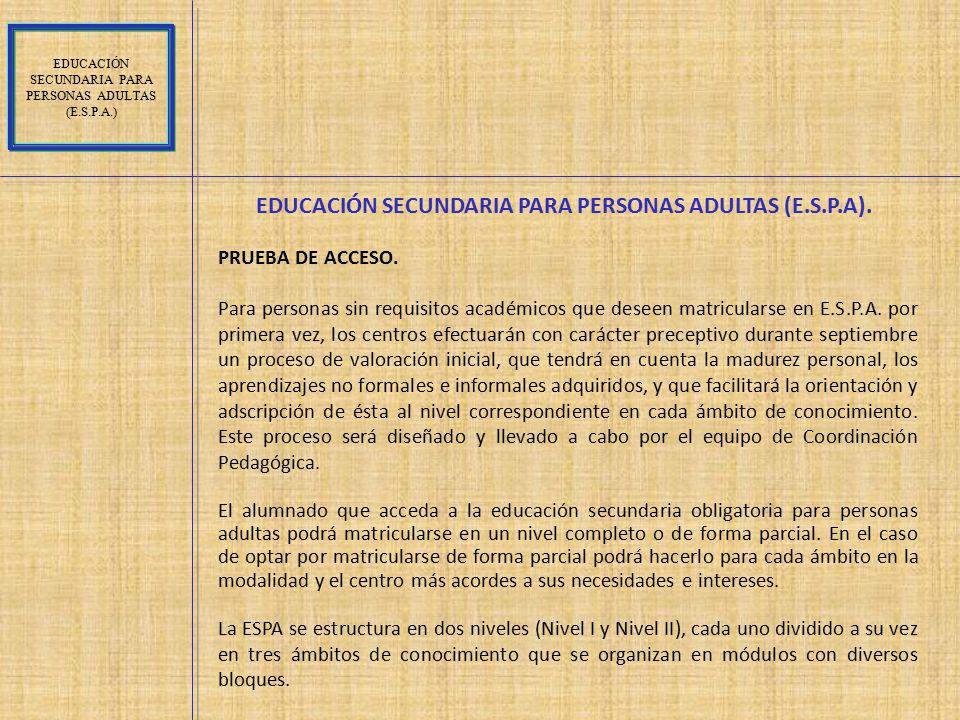 EDUCACIÓN SECUNDARIA PARA PERSONAS ADULTAS (E.S.P.A).