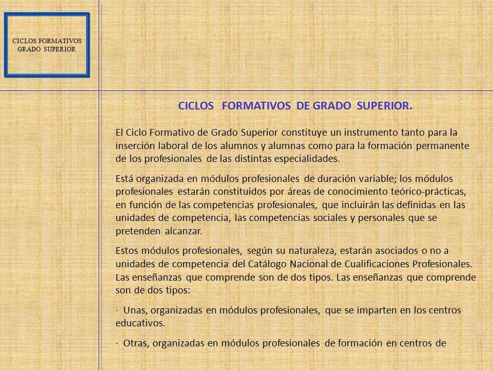 CICLOS FORMATIVOS DE GRADO SUPERIOR.