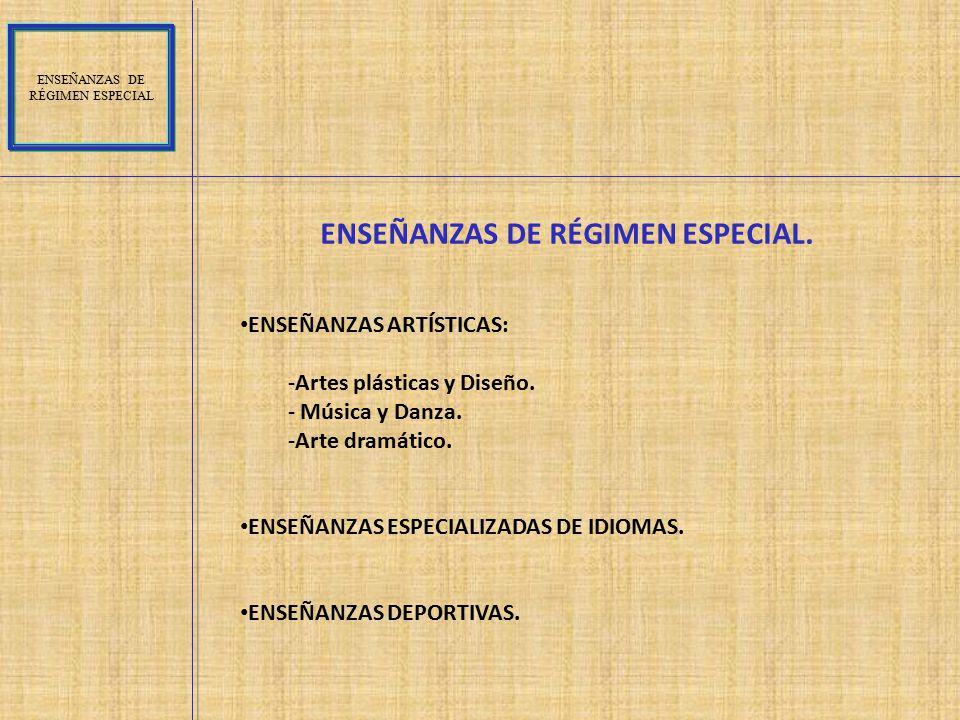 ENSEÑANZAS DE RÉGIMEN ESPECIAL.