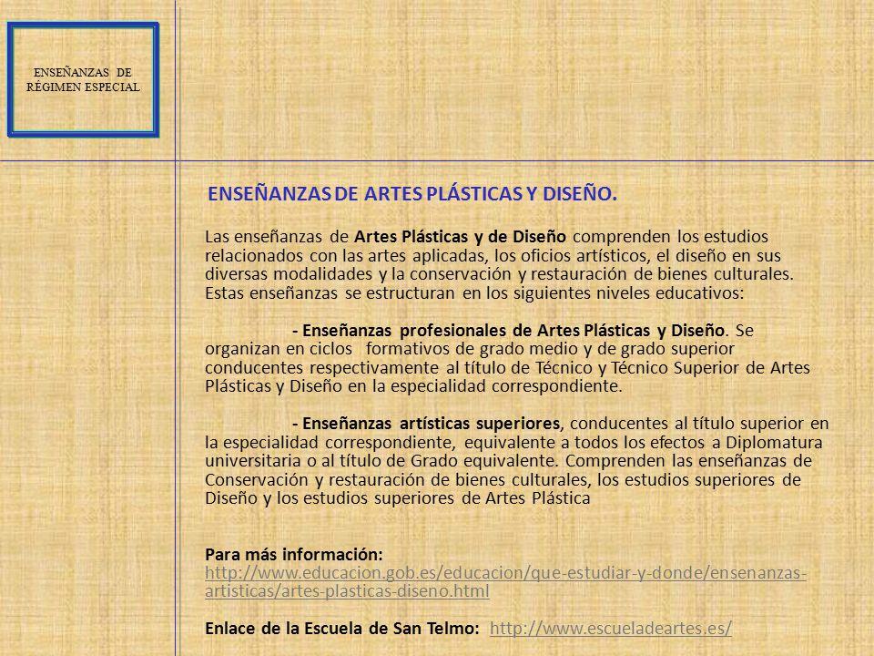 ENSEÑANZAS DE ARTES PLÁSTICAS Y DISEÑO.