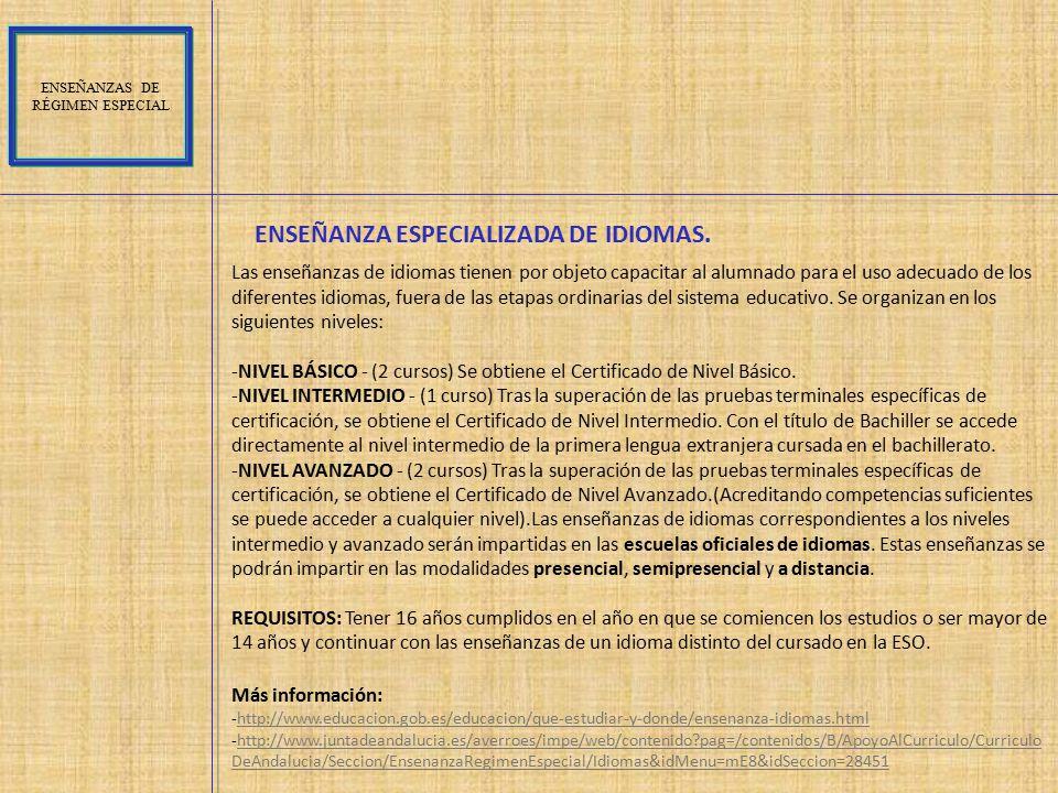 ENSEÑANZA ESPECIALIZADA DE IDIOMAS.