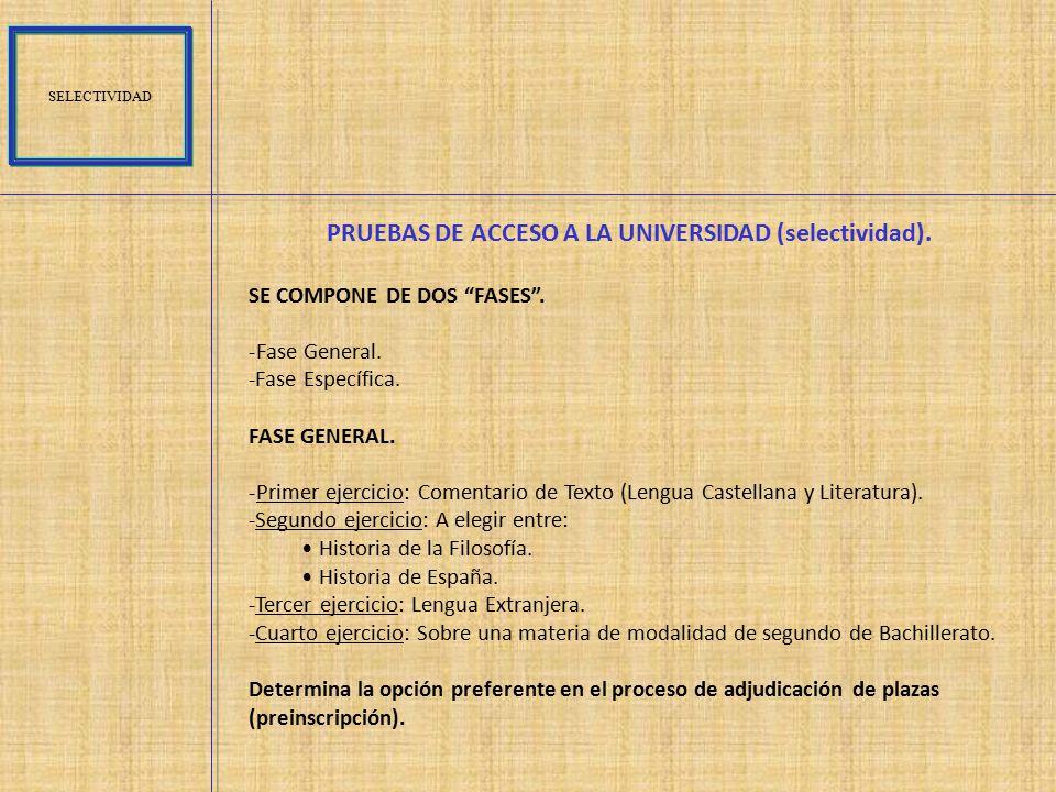 PRUEBAS DE ACCESO A LA UNIVERSIDAD (selectividad).