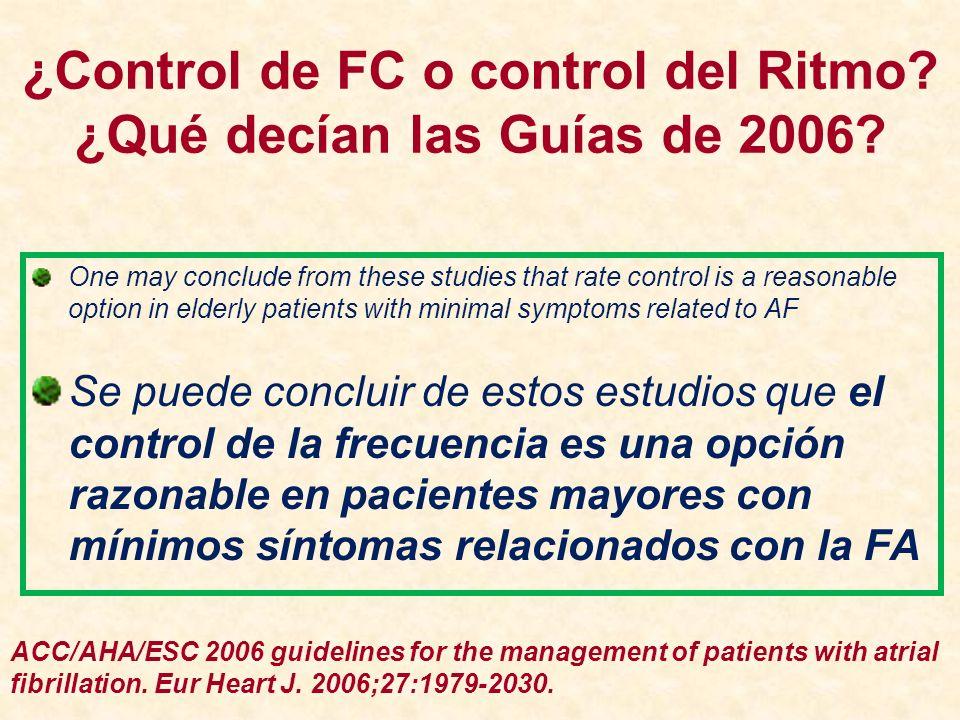 ¿Control de FC o control del Ritmo ¿Qué decían las Guías de 2006