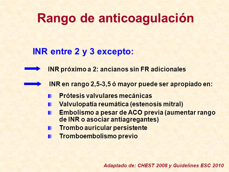 Rango de anticoagulación