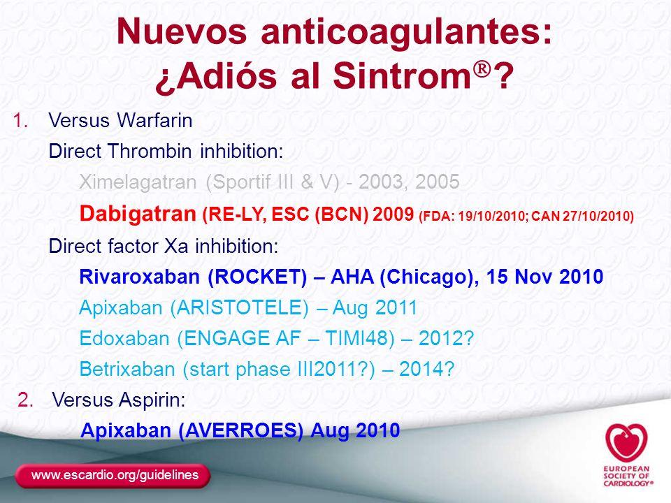 Nuevos anticoagulantes: ¿Adiós al Sintrom