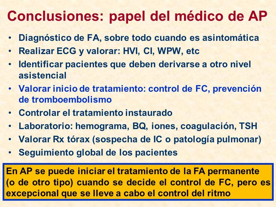 Conclusiones: papel del médico de AP