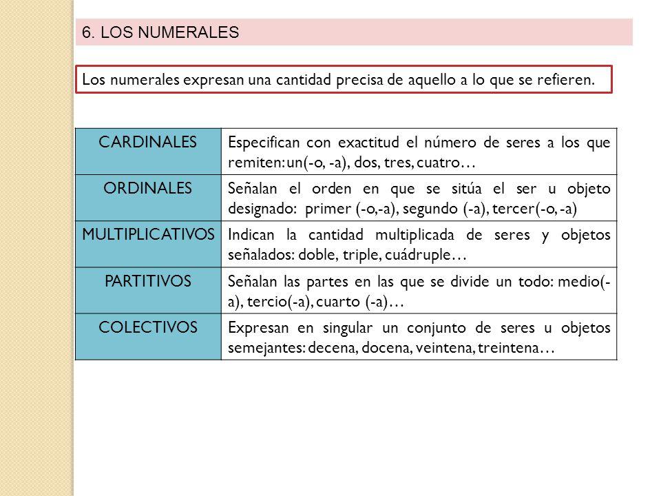 6. LOS NUMERALES Los numerales expresan una cantidad precisa de aquello a lo que se refieren. CARDINALES.