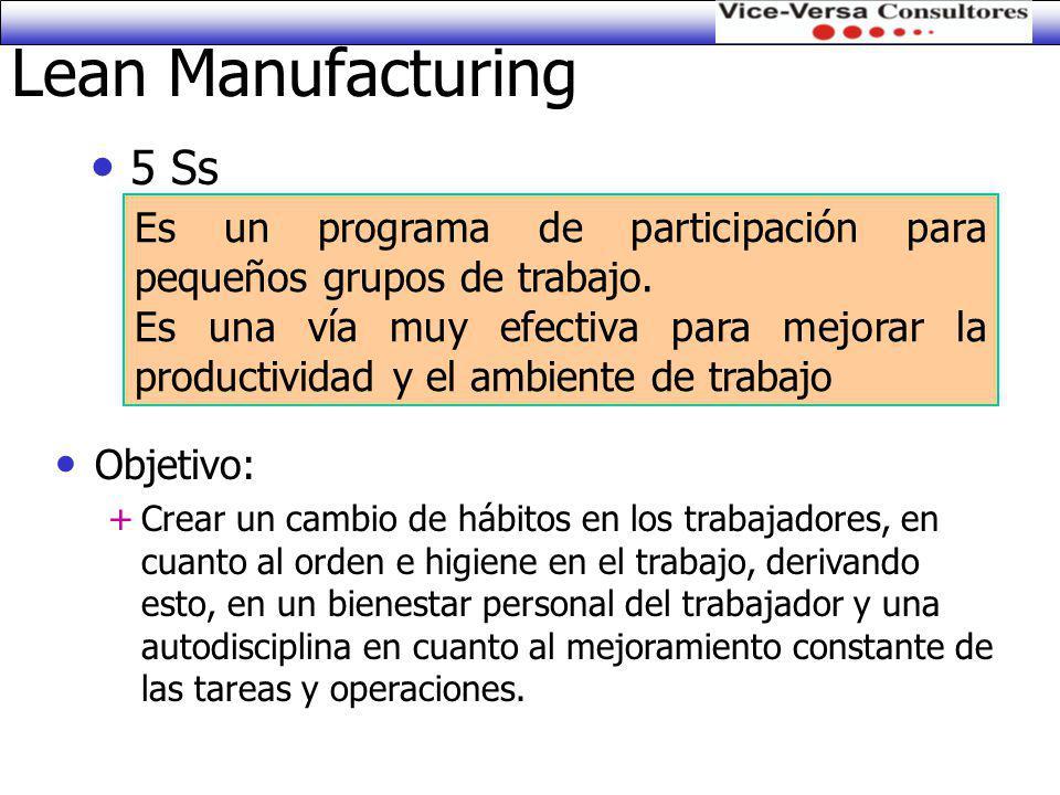 Lean Manufacturing 5 Ss. Es un programa de participación para pequeños grupos de trabajo.