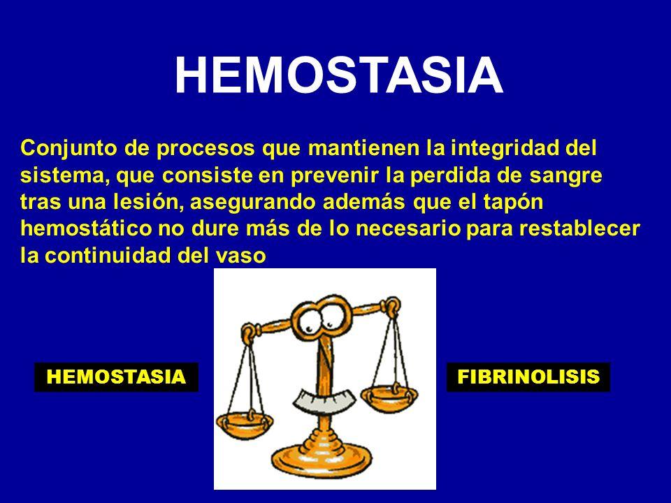 HEMOSTASIA Conjunto de procesos que mantienen la integridad del