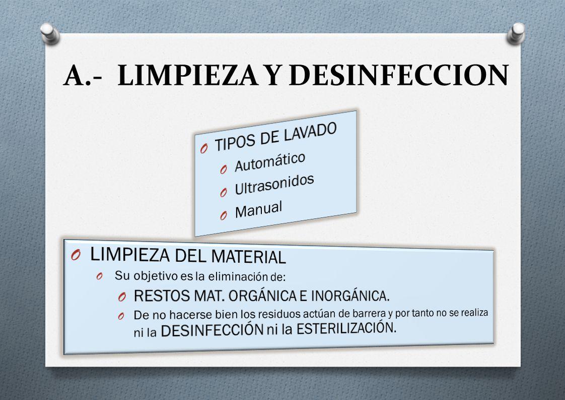 A.- LIMPIEZA Y DESINFECCION