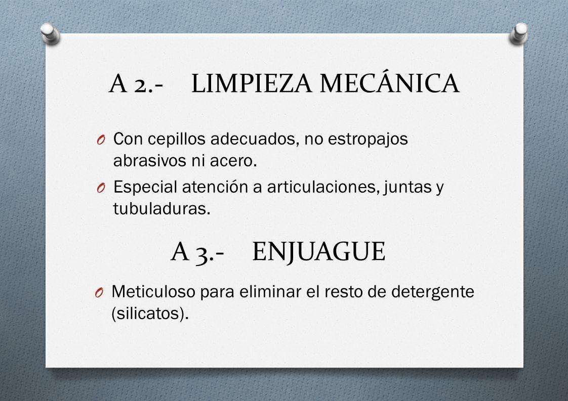 A 2.- LIMPIEZA MECÁNICA A 3.- ENJUAGUE