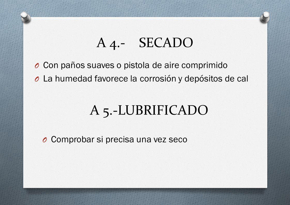 A 4.- SECADO A 5.-LUBRIFICADO