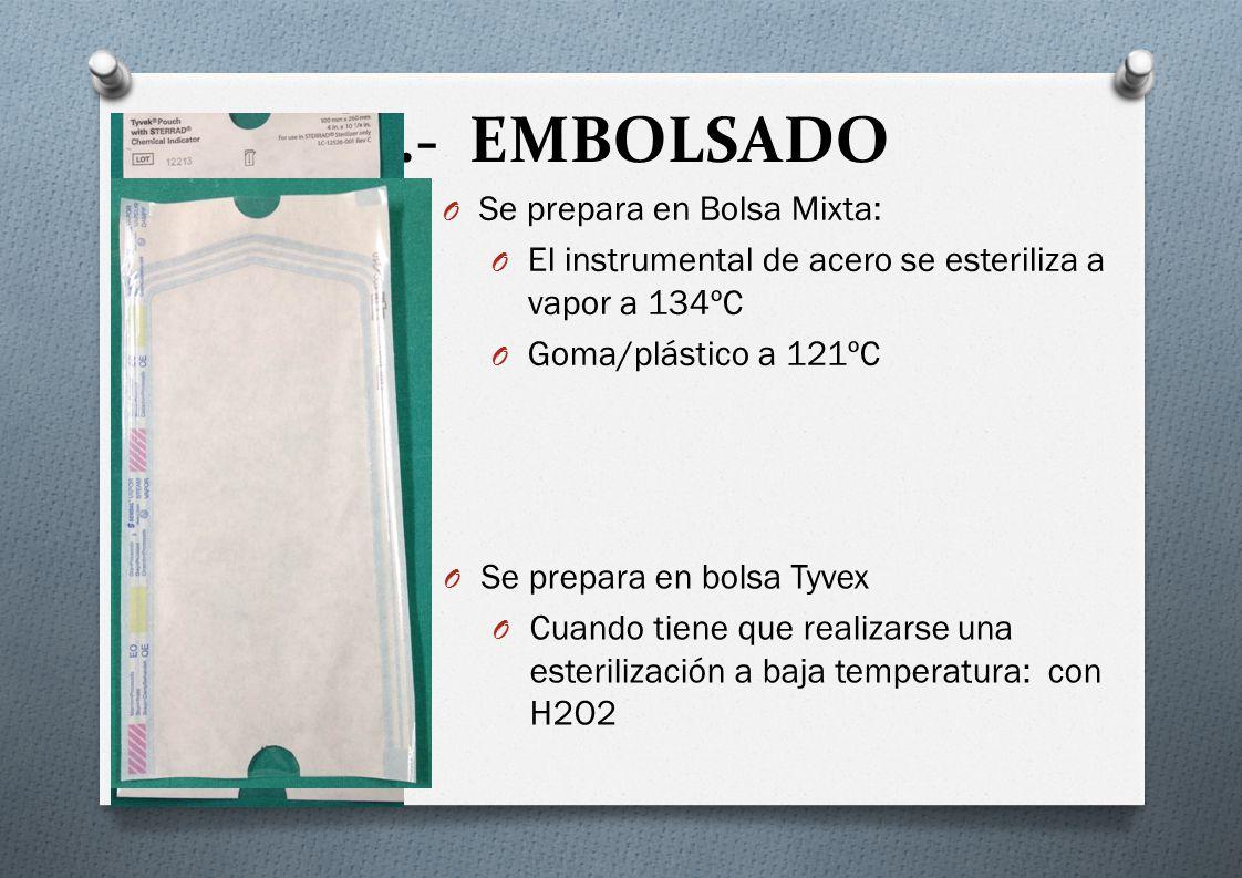 B.- EMBOLSADO Se prepara en Bolsa Mixta: