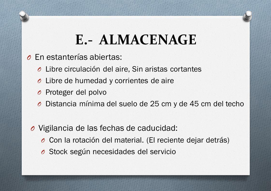 E.- ALMACENAGE En estanterías abiertas: