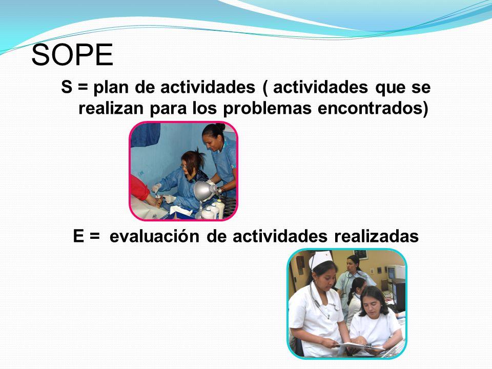 E = evaluación de actividades realizadas