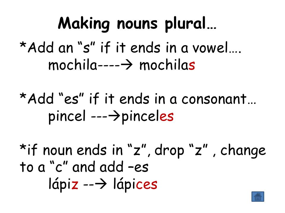 Making nouns plural… *Add an s if it ends in a vowel….