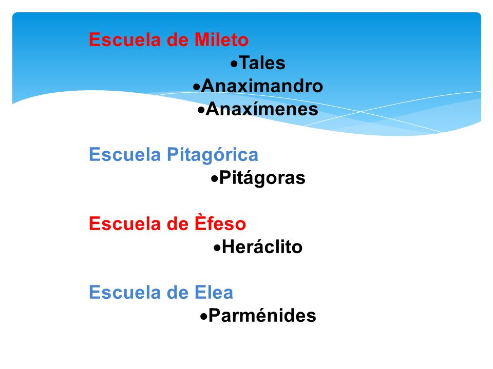 Escuela de Mileto Tales. Anaximandro. Anaxímenes. Escuela Pitagórica. Pitágoras. Escuela de Èfeso.