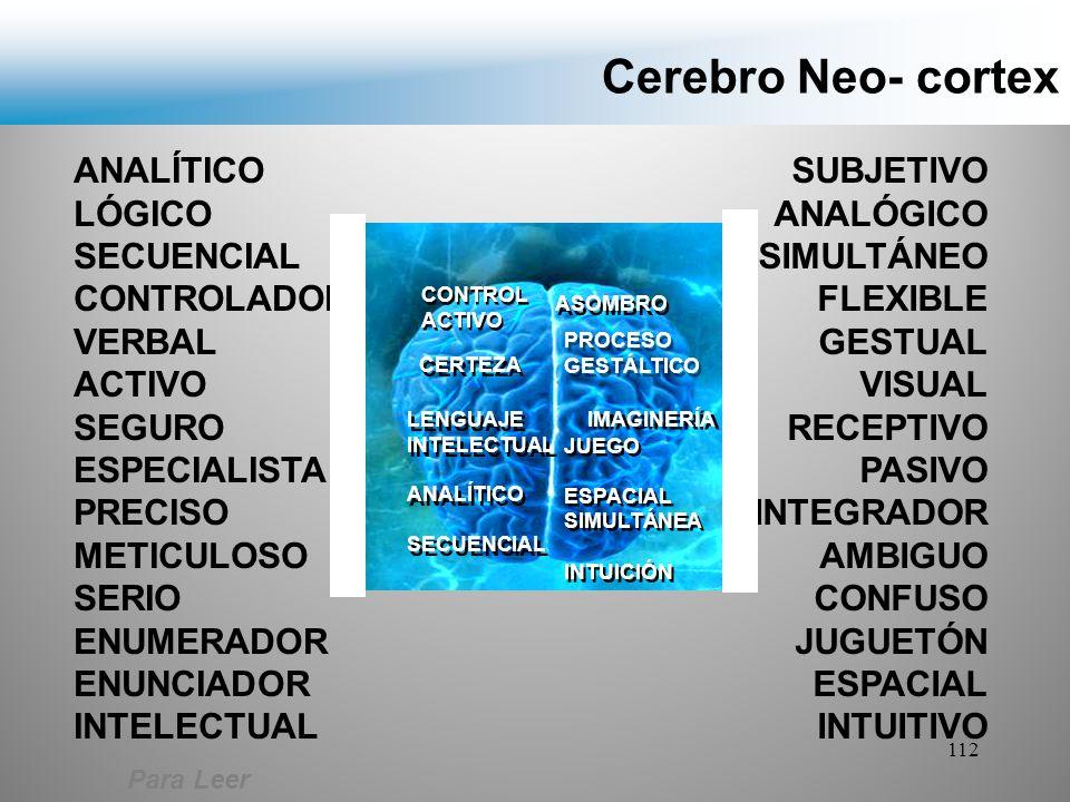 Cerebro Neo- cortex ANALÍTICO LÓGICO SECUENCIAL CONTROLADOR VERBAL
