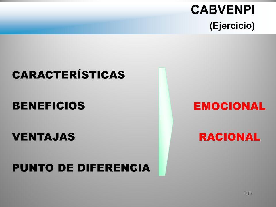 CABVENPI (Ejercicio) CARACTERÍSTICAS BENEFICIOS VENTAJAS EMOCIONAL
