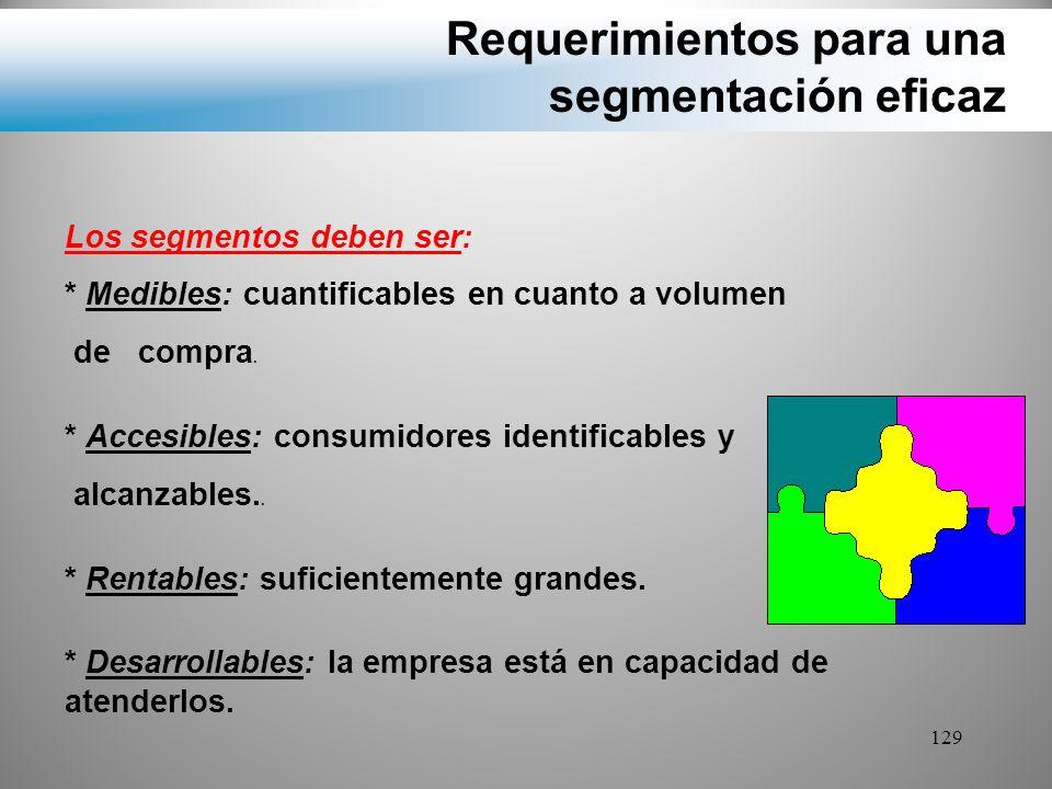 Requerimientos para una segmentación eficaz