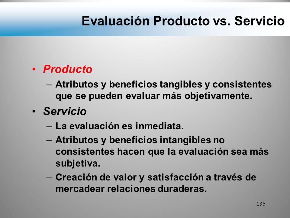Evaluación Producto vs. Servicio